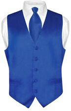 Biagio Men's SILK Dress Vest & NeckTie Solid ROYAL BLUE Color Neck Tie Set