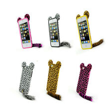 3D Leopard Fur Mouse with Ear Tail Silicone phone Case Cover For iPhone5 iPhone4