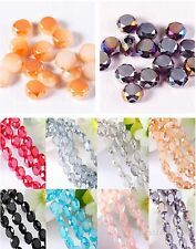 Charms Round Flat Glass Crystal Bracelet&Necklace Finding Spacer Beads 6mm 8699