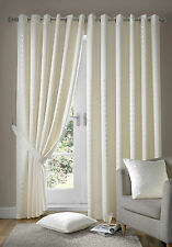 cream eyelet ring top madison curtains including tie backs (free p&p)