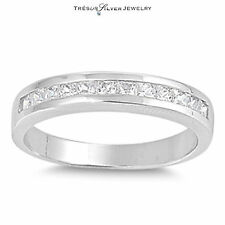 wedding anniversary bridal cz womens sterling silver band ring size 5 6 7 8 9 10