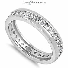 wedding anniversary eternity cz womens sterling silver band ring size 6 7 8 9 10