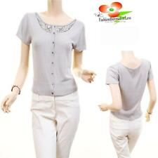 Women Gray SILK Sequins Cardigan Stretch Knit Fitted Blouse Shirt Crop Top S M L