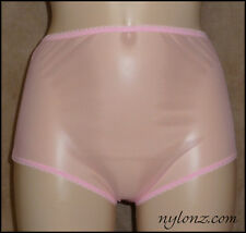 Vintage Style Completely Sheer Nylon FULL CUT Panties Pink  * FREE UK SHIPPING