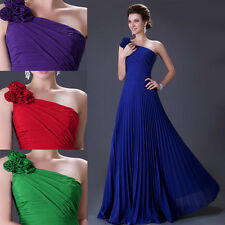 One Shoulder Pleats Prom Bridesmaid Evening Formal Party Dress Gown Long Dresses