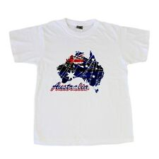 Adult T Shirt Australian Australia Day Souvenir Gift 100% Cotton - Map with Flag