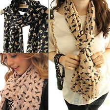 Womens Chiffon Colorful Sweet Cat Kitten Scarf Graffiti Style Girls Shawl B91U