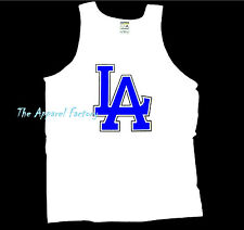 Brand New Men's LA logo White Tank Top Cali Dodgers Los Angeles t shirt