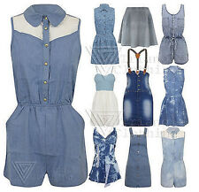 New Ladies Denim Playsuit Pinafore Dress Skater Skirt Light Stretch Lace Womens