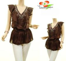 Women Brown Victorian Faux Silk Chiffon Ruffle Stud Flutter Peasant Blouse Top