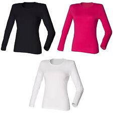 Skinni Fit Womens/Ladies Long Sleeve Stretch Casual T-Shirt Szs S-XL