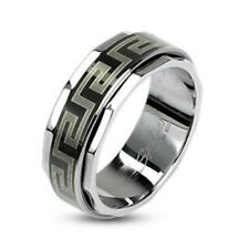 Stainless Steel Black IP Maze Link Spinner Band Men's Ring Size 9-13