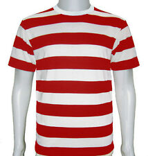 NEW MENS AND LADIES SHORT SLEEVE RED AND WHITE STRIPE STRIPY FANCY DRESS T-SHIRT