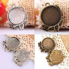 15Pc Bronze/Tibetan Silver Round Leaves Picture Photo Frame Charms Pendant Beads