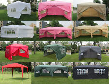 EZ Pop UP Wedding Party Tent Folding Gazebo Camping Canopy W/ SIDES & Carry Bag