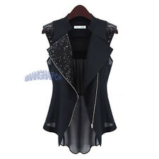 Women/Lady Sequin Vest Asymmetric Waistcoat Gilet Sleeveless Jacket Black/White