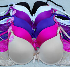 LOT 1, 3 or 6 pc Lace Plain Full Cup PUSH UP Pushup 30 32 34 36 38 40 A/B/C Bra