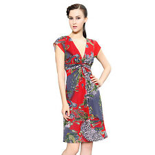 Short Sleeve Red V Neck Ruched Waist Printed Summer Casual Party Dress 03809
