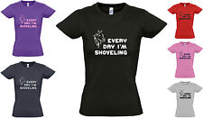New LADIES / GIRLS 'Every Day I'm Shoveling' FUNNY / PONY HORSE T-SHIRT 8 to 16