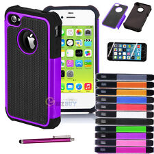 New Hybrid Rugged Rubber Matte Hard Case Cover for iPhone 5 5G + Stylus/Film