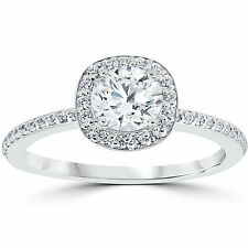 1.00CT Diamond Engagement Ring Cushion Halo Top New 14K White Gold Pave (4-9)