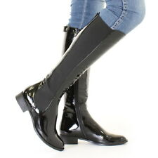 WOMENS BLACK PATENT KNEE HIGH FLAT CHELSEA STYLE SLIM FIT BOOTS SIZE 3-8