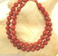 8MM-18MM GENUINE NATURAL INDO-PACIFIC ROUND RED SPONGE CORAL BEAD NECKLACE 24""