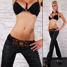 HOT Sexy Women's hipster jeans black wet look bootcut jeans Inc Belt Size 6-14