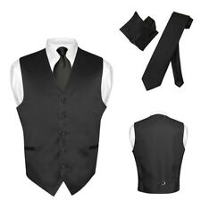 Men's Dress Vest NeckTie BLACK Color Neck Tie Set for Suit or Tuxedo