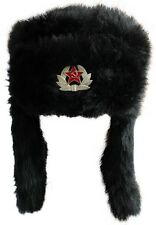 Russian Style Faux Fur Trapper Hat Ushanka Cossack Hat With a Badge 3 Colours