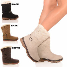 NEW LADIES WOMENS WINTER SNOW CALF BUCKLE FAUX FUR LINED BOOTS SHOES SIZE 3-8