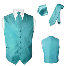 Men's Paisley Design Dress Vest & NeckTie TURQUOISE AQUA BLUE Color Neck Tie Set