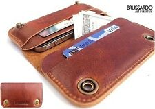 "Brussardo ""Grande"" Light Brown Italian Leather Case Wallet For Apple iPhone 5"