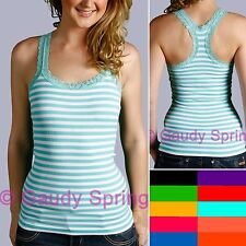 Ladies Cute Stripe Lace Trim Spaghetti Strap Cami Rib Ribbed Tee Shirt Tank Top