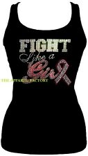 "New JUNIORS TANK TOP BREAST CANCER ""FIGHT LIKE A GIRL"" Rhinestone Black SHIRT"