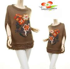 Celebrity Women Brown Embroidered Knit Fringe Pullover Poncho Sweater Top Cape