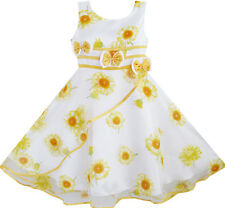 Girls Dress 3 Bow Tie Sunflower Pageant Wedding Kids Clothes Size 4-12 NWT