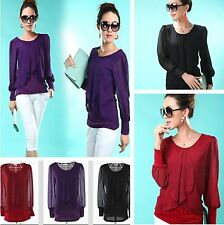 Newest Korean  Fashion Ladies Casual Chiffon Crew Neck Top Shirt Blouse 6 Size