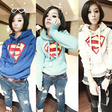Women Superman Casual Hoodie Hoody Sweatshirt Lady Coat Tops Outerwear Loose M L