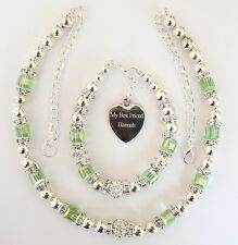 LADIES GIRLS NECKLACE AND BRACELET SET ENGRAVED PERSONALISED IN BOX - GREEN