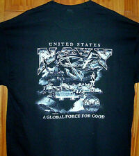 US Navy T Shirt Carrier's & Jets Black Sz Sm - 6XL  NAVY A GLOBAL FORCE FOR GOOD