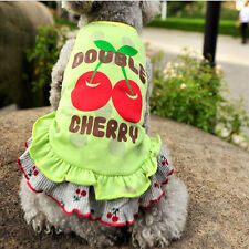 Dog Cat Clothes Cute Skirt With Cherry Pattern Get 1 Elastic Band For Free