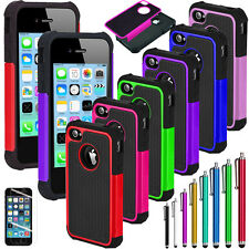 Hybrid Rugged Impact Rubber Matte Hard Case Cover for iPhone 5C w/ Screen Guard