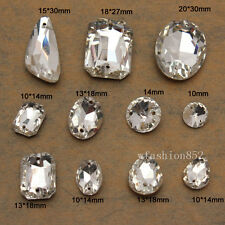 Grade AA Sew On faceted Glass Crystal Rhinestones Diamante Point Back botton