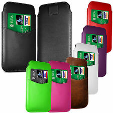 PREMIUM CARD SLOT PU LEATHER PULL FLIP TAB CASE COVER POUCH FOR SONY PHONES