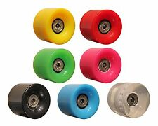 SET OF 4 PU WHEELS 59MM 78A ABEC-7 BEARINGS FITS RETRO CRUISER PENNY SKATEBOARDS