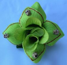 SKULLS HAIR CLIP WITH LIME GREEN FLOWER FOR DAY OF THE DEAD