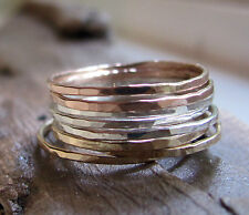 Handmade skinny stacks yellow gold fill, rose gold fill st silver rings set of 6