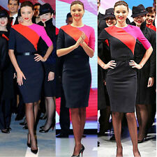 Celebrity Color block 1/2 sleeve Stretch bodycon evening party pencil Dress N449