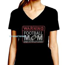 New JUNIORS V NECK Rhinestone Football MOM Warning T shirt women pick size S-3X